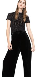 Zara Devore Stretchy Shirt New Top Black