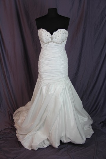 Coco Anais White Taffeta & Lace An152 Feminine Wedding Dress Size 8 (M)