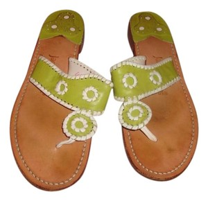 Jack Rogers Bright Green/White Leather Sandals