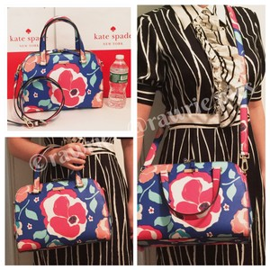 Kate Spade Structured Flowers Colorful Strap Zip Top Satchel in multi