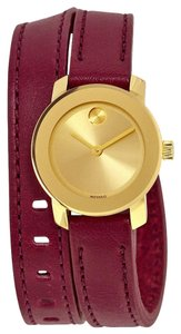 Movado Gold tone Stainless Steel Burgundy Wrap Bracelet Designer Ladies watch