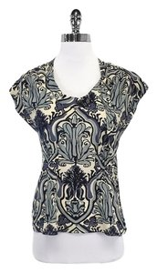 Nanette Lepore Cream Black Blue Print Top
