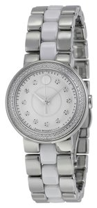 Movado Diamond Set Bezel Silver Tone Stainless Steel White Ceramic Designer Luxury Ladies Watch