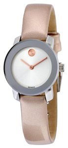 Movado Silver tone Stainless Steel Rose Gold Leather Strap Designer Casual Ladies Watch