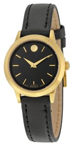Movado Black Dial Gold tone Stainless Steel Black Leather Strap Designer Ladies Dress Watch