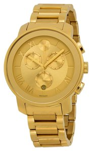 Movado Gold Ion Plated Stainless Steel Designer Ladies Casual Watch