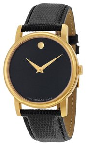 Movado Black Dial Gold tone Stainless Steel Black Leather Strap Designer Dress MEN's Watch