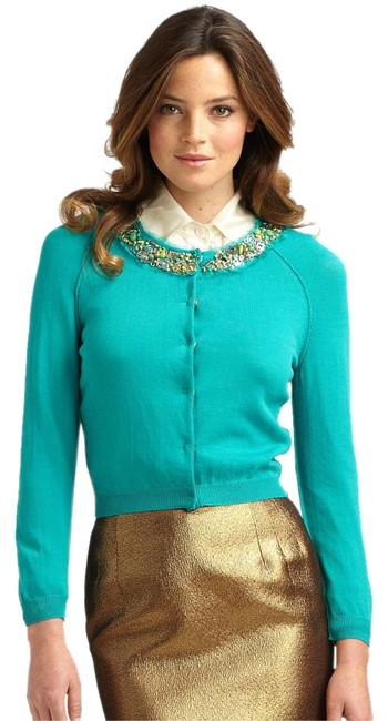 Item - Teal Blue Boutique Women's Beaded Collar Cotton Cardigan Size 6 (S)