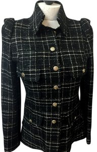 Chanel Wool Riding Jacket Boucle Black Blazer