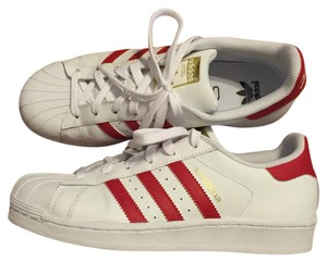 Addidas Superstar White and Red Athletic