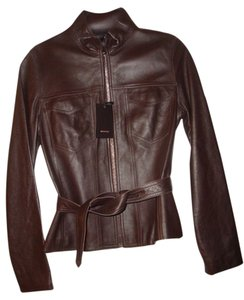 Bruno Magli Belted Brown Leather Jacket