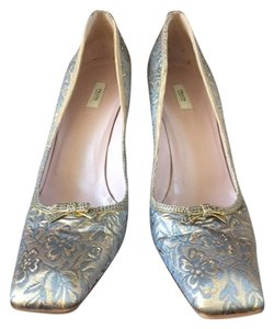 Prada Evening Silk Pump Wedding Gold and Silver Formal