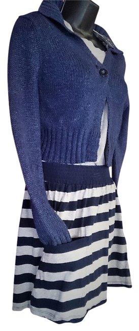 Forever 21 Striped Blue Navy Grey Juniors Free Shipping Paypal Mini Skirt multi color
