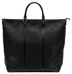 Gucci Leather Diamante Unisex Tote in Black