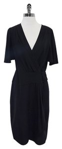 BCBGMAXAZRIA Black Short Sleeve Wrap Wrap Dress