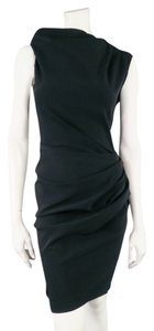 Lanvin Draped Asymmetrical Stretch Zipper Lbd Dress