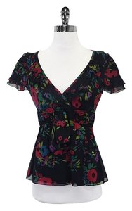 Nanette Lepore Black Red Blue & Green Floral Top