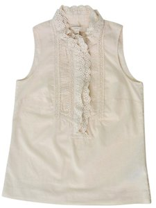 J.Crew Ruffle Sleeveless Cotton Lightweight Top Light cream