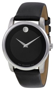 Movado Black Dial Silver tone Stailess Seel Black Leather Strap Designer MENS Watch