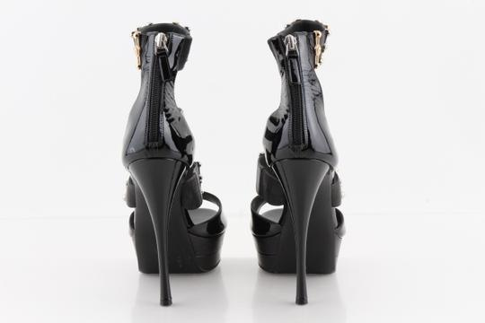 Versace Gold & Silver Open Toe Black Pumps Image 2