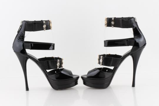 Versace Gold & Silver Open Toe Black Pumps Image 6