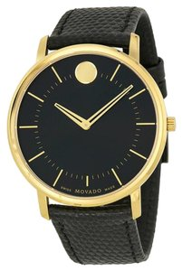 Movado Black Dial Gold tone Textured Black Leather Strap Designer MENS Dress Watch