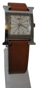 Hermès Hermes H Hour PM Brown Leather White Dial Watch