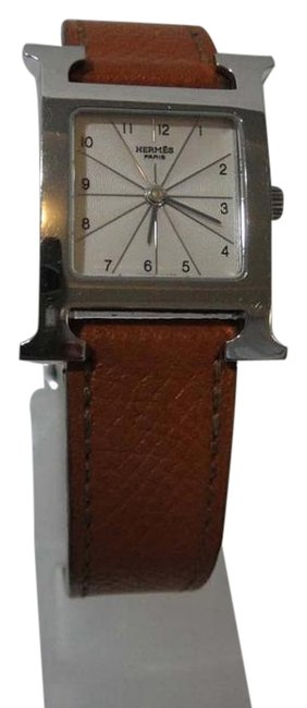 Hermès Brown Hour Pm Leather White Dial Watch Hermès Brown Hour Pm Leather White Dial Watch Image 1