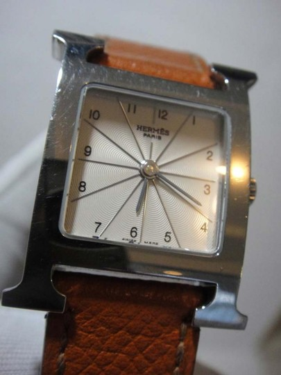 Hermès Hermes H Hour PM Brown Leather White Dial Watch Image 1