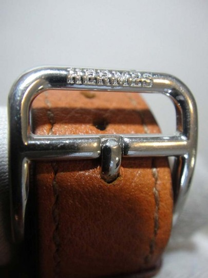 Hermès Hermes H Hour PM Brown Leather White Dial Watch Image 3