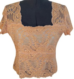 Kay Celine Sheer Lace Top Peach