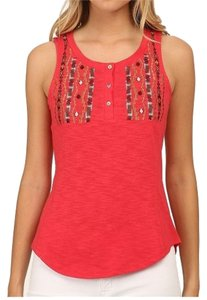 Sanctuary Clothing Embroidered Artsy Sleeveless Pullover Top Red