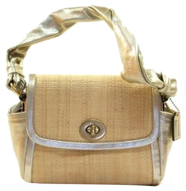 Coach Parker Gold and Neutral Woven Straw Leather Satchel Coach Parker Gold and Neutral Woven Straw Leather Satchel Image 1