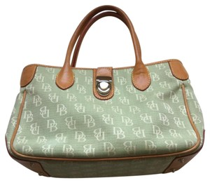 Dooney & Bourke Satchel in Lime Green And Beige With Tan Trim