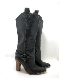 BCBG Cowboy Black Leather Hearts Valentines Day Stacked Heel Leather Sexy Setsuko Jewelry distressed black Boots