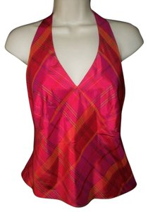 Ann Taylor Plaid Silk Magenta Halter Top