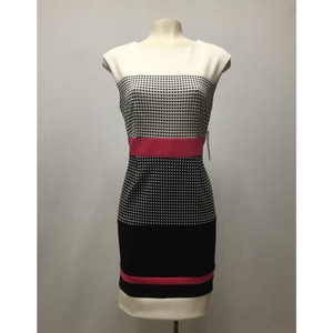 Sandra Darren Jacquard Color-blocking Textured Career Dress