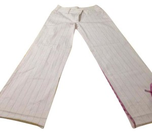 United Colors of Benetton Boot Cut Pants White with Black stripes