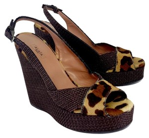 ALAA Brown Wicker Leopard Print Wedges