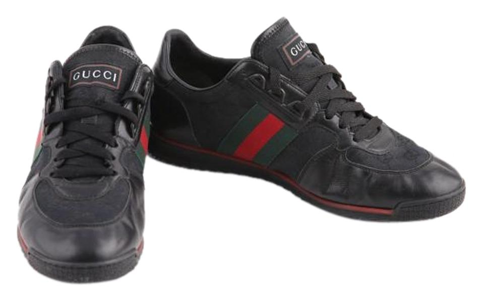 1137e7d63 Gucci Black 'sl73' Lace-up Trainer with Signature Web Sneakers Size ...
