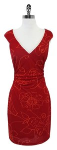 David Meister short dress Red Orange Floral Ruched on Tradesy