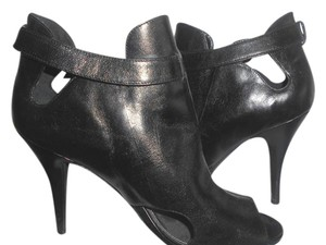 BCBGMAXAZRIA Stilletto Leather Peep-toe Black Boots