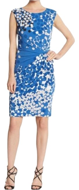 Anne Klein Blue Twist New Dot-print Cap Sleeve Boatneck Pleated Above Knee Work/Office Dress Size 4 (S) Anne Klein Blue Twist New Dot-print Cap Sleeve Boatneck Pleated Above Knee Work/Office Dress Size 4 (S) Image 1