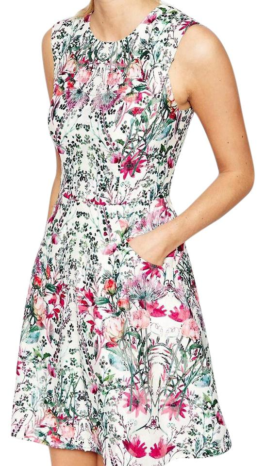 Ted Baker Cream Floral Gaea Fit & Flare Short Cocktail Dress Size 10 ...