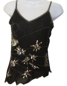 Wild Cat Beaded Beaded Tank Beaded Sequins Sequins Beaded Cami Top Black and Silver