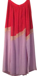 Ark & Co. Maxi Skirt Red and light purple with cream