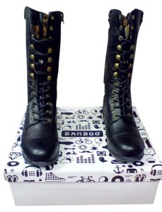Bamboo Dark Brown Brass Accents Orange Zipper Boots