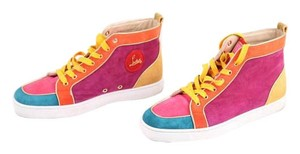 Christian Louboutin Mens Suede/leather Hightop Multicolor Platforms