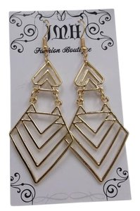 Goldtone Chevron Arrow Fashion Earrings w Free Shipping