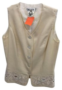 Escada Floral Embroidered Perforated Vest